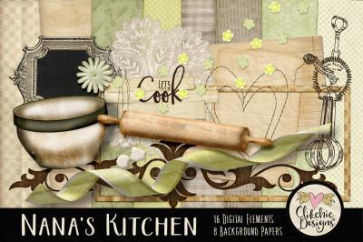 Nana's Kitchen Digital Scrapbook Kit