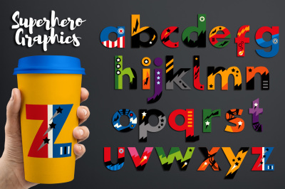 Superhero Alphabet Clipart Graphics, small caps / lowercase letters