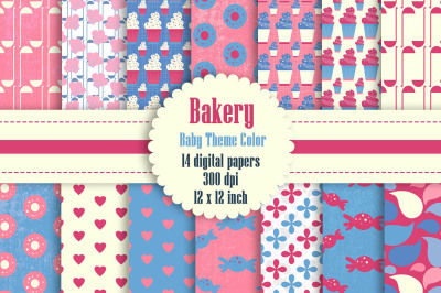 14 Bakery Digital Papers in Pink and Blue Baby Theme Color