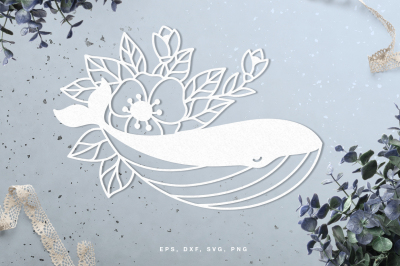 Floral whale digital cut file (svg, dxf, png, eps)