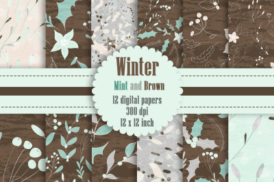 12 Winter Floral Digital Papers in Mint and Brown Color