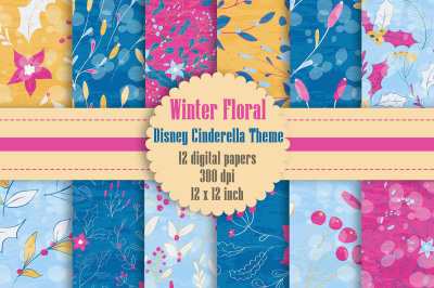 12 Winter Floral Digital Papers in Pink, Blue, Yellow Theme