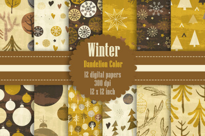 12 Winter Pattern Digital Papers in Dandelion Theme Color