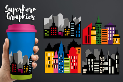 Superhero Skyline City Buildings Block Clipart Graphics