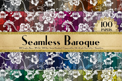 100 Seamless Antique Baroque Pattern Digital Papers