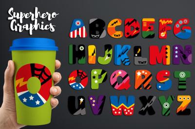 Superhero Alphabet Graphics Clipart, Uppercase Letters