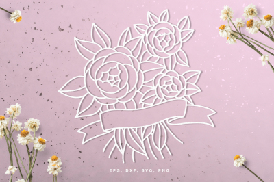 Floral peony banner digital cut file (svg, dxf, png, eps)