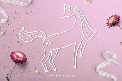 Unicorn digital cut file (svg, dxf, png, eps)