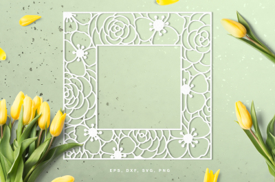 Floral square frame digital cut file (svg, dxf, png, eps)