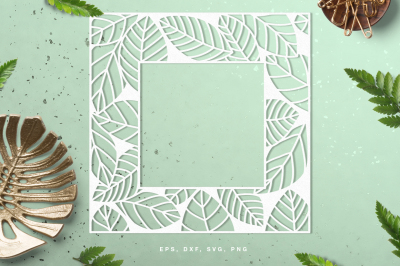 Leaf frame digital cut file (svg, dxf, png, eps)