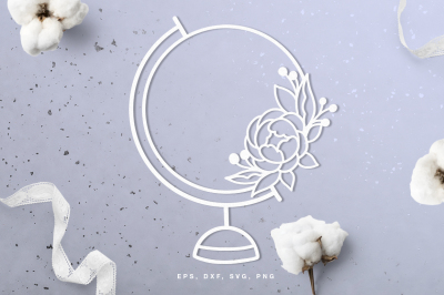 Floral world globe digital cut file (svg, dxf, png, eps)