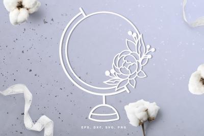 Floral world globe digital cut file (svg, dxf, png, eps)