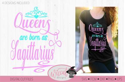 Sagittarius svg, Queens are born as, Queen svg, Zodiac svg, birth sign