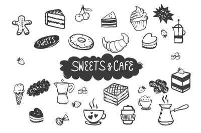 Sweets & Cafe Hand Drawn Elements