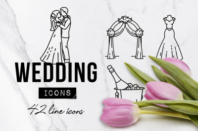 42 Detailed Wedding Icons