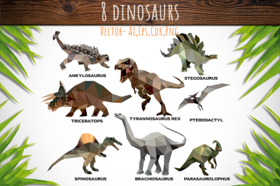 Set of 8 Low Poly Dinosaurs