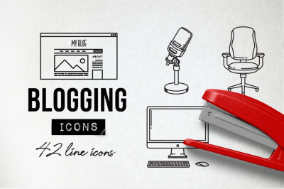 42 Detailed Blog Icons - Social Media