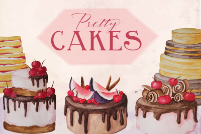 Pretty Cakes Watercolor Clip Art