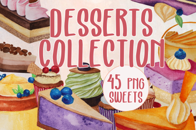 Desserts collection - Watercolor desserts