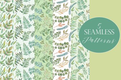 5 Seamless Greenery Patterns