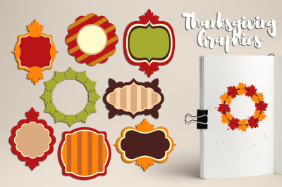 Thanksgiving Frames / Autumn Fall Tags/ Labels Graphics