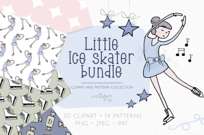 Winter clipart and pattern bundle