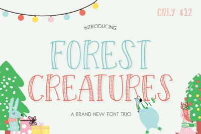 Forest Creatures Font Trio