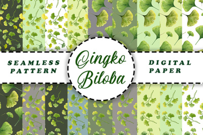 Seamless Patterns of tropical plant Gingko biloba.