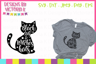 Black cats & witches hats, SVG, DXF, PNG, Cut File