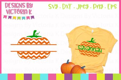 Chevron Split Pumpkin, Monogram, SVG, DXF, PNG, Cut File