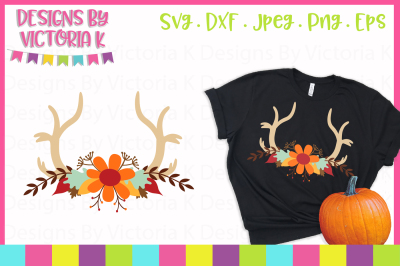Fall Antlers, SVG, DXF, PNG, Cut Files