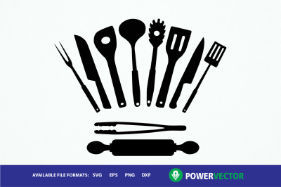 Kitchen Utensils Clipart Set- svg, dxf, eps, png