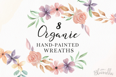 Watercolor Floral Wreaths Organic Painted Pink Purple Set
