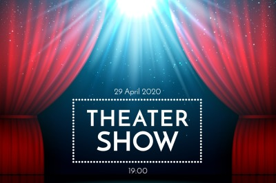 Open red curtains on stage illuminated by spotlight. Dramatic theater