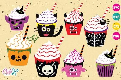 Halloween Cupcakes bundle, svg cutting files
