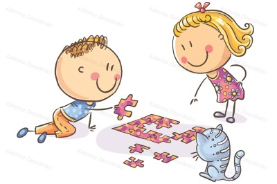 Happy cartoon kids trying to assemble puzzle