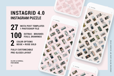 InstaGrid 4.0 - Instagram Puzzle Template - Social Post Grid Template