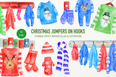 Hand Painted Watercolor Christmas Jumpers on Hooks Clipart