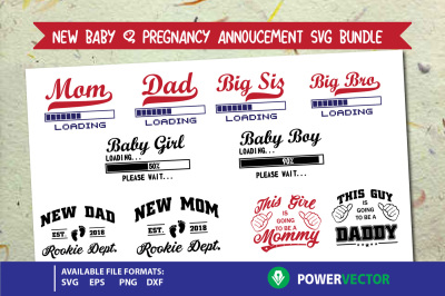New Baby | Pregnancy Announcement SVG, Dxf, EPS, PNG Bundle