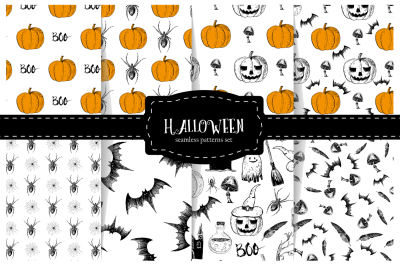 Halloween. Set of seamless patterns