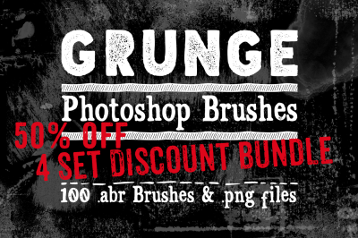 Grunge Photoshop Brushes Bundle - 50&25; Off Texture Brushes