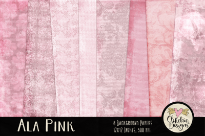 Ala Pink Digital Paper Pack - Texture Backgrounds
