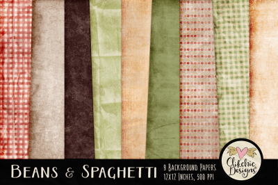 Beans & Spaghetti Digital Paper Pack - Textures Backgrounds