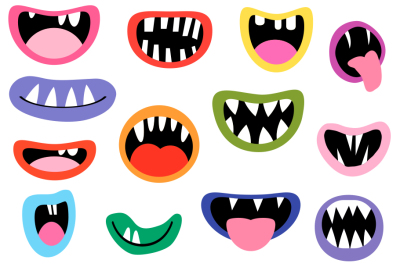 Funny monster mouths clipart, Spooky Halloween creature teeth tongues