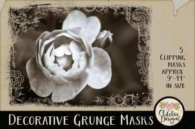Decorative Grunge Photoshop Clipping Masks & Tutorial