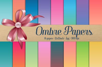 16 Rainbow Gradient Digital Papers&2C; Ombre&2C; Linear Gradient