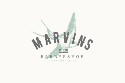 Bird barber shop vintage logo + business card