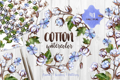 Blue and white cotton PNG watercolor set