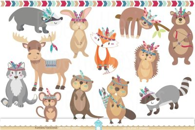 Tribal Woodland Animals Clipart