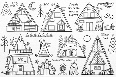 Doodle A-Frame Houses ClipArt